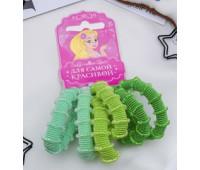 """Резинка для волос """"Махрушка"""" 6 шт., цвет зеленый"""